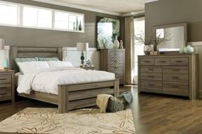 Zelen Queen Bedroom Set with Poster Bed, Dresser, Mirror and Chest in Warm Grey