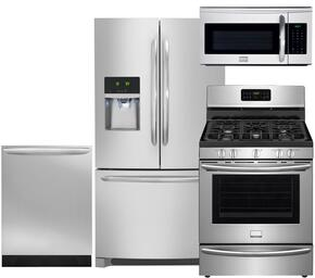 "Gallery 4-Piece Smudge-Proof Stainless Steel Kitchen Package with DGHF2360PF 36"" Freestanding French Door Refrigerator, FGGF3035RF 30"" Freestanding Gas Range, FGID2466QF Fully Integrated Dishwasher and FGMV175QF Over-the-Range Microwave"