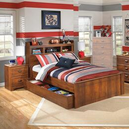 Barchan Twin Bedroom Set with Bookcase Panel Bed with Trundle and 2 Nightstands in Warm Brown