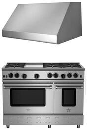 "2-Piece Kitchen Package with RNB488BV2NG 48"" Gas Freestanding Range and BSINCL48SS 48"" Wall Mount Incline Range Hood in Stainless Steel"