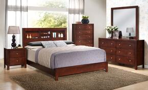 G2400BQB2SET 5 PC Bedroom Set with Queen Size Panel Bed + Dresser + Mirror + Chest + Nightstand in Cherry Finish