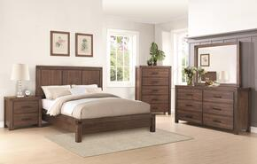 Lancashire 204111QSET 5 PC Bedroom Set with Queen Bed + + Chest + Nightstand + Dresser + Mirror in Wire Brushed Cinnamon Finish