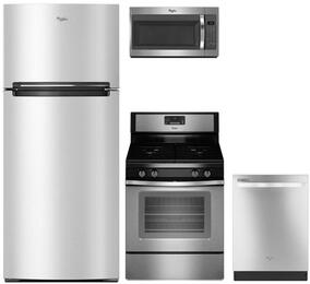 "4-Piece Kitchen Package with WRT518SZFM 28"" Top Freezer Refrigerator, WFG515S0ES 30"" Gas Freestanding Range, WMH31017FS 30"" Over The Range Microwave oven and WDT720PADM 24"" Built In Dishwasher in Stainless Steel"