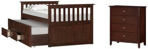 3000-30C Mission Hills Set Including Chast, Captains Bed with Simple Pulls and Molding Detail in Chestnut
