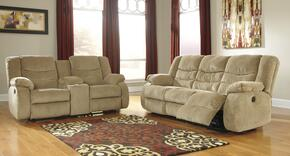Garek 92002SET2PC 2-Piece Non-Power Living Room Set with Reclining Sofa and Double Reclining Loveseat in Sand