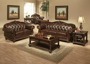 Anondale 15030SLCOT 7PC Living Room Set with Sofa + Loveseat + Chair + Ottoman + Coffee Table + End Table + Sofa Table in Cherry