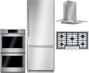 """4530"""" Bottom Freezer Refrigerator, NGMP655UC 36"""" Gas Cooktop, HCG56651UC 36"""" Wall Mount Hood, HBLP651LUC 30"""" Double Wall Oven, and SHX88PW55N 24"""" Dishwasher"""