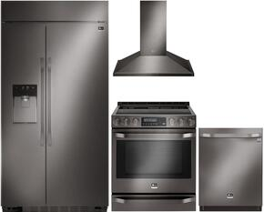 "Studio Series 4-Piece Kitchen Package With LSSB2696BD 42"" Built In Side by Side Refrigerator, LSSE3029BD 30"" Slide-in Electric Range, LSHD3089BD 30"" Wall Mount Convertible Hood and LSDF9969BD 24"" Built In Dishwasher in Black Stainless"