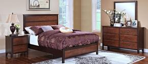 00145EBDMN Bishop 4 Piece Bedroom Set with King Bed, Dresser, Mirror, and Nightstand, in Chestnut/Ginger