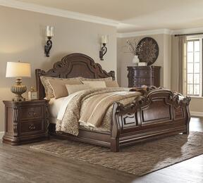 Florentown King Bedroom Set with Sleigh Bed, and Nightstand in Dark Brown