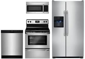 "4 Piece Kitchen Package With FFEF3043LS 30"" Electric Freestanding Range, FFSS2614QS 36"" Side by Side Refrigerator, FFMV164LS  Over the Range Microwave Oven and FFBD2412SS 24"" Built in Dishwasher in Stainless Steel"
