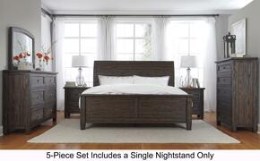 Conrad Collection Queen Bedroom Set with Panel Bed, Dresser, Mirror, Single Nightstand and Chest in Dark Brown