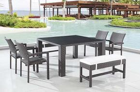 T0772SQDTSET Global Furniture USA Square Dining Table With Glass in Black, 4 C112W-1 Dining Chairs and 2 C029-8 Benches