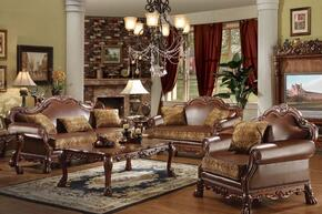 15160SLC Dresden Sofa + Loveseat + Chair with Accent Pillows, Rolled Arms, Carved Wooden Elements, Decorative Nail Head Trim, Brown PU and Chenille Upholstery in Cherry Oak Finish