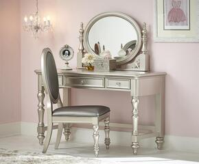 Sterling 8471414SET3 3 PC Vanity Set with Desk/Vanity + Mirror + Chair in Silver Color