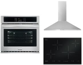 "Frigidaire Gallery 3-Piece Kitchen Package With FGIC3067MB 30"" electric Cooktop, FGEW3065PF 30"" Electric Single Wall Oven and FHWC3055LS 30"" Wall Mount Convertible Hood in Stainless Steel"