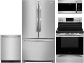 """4-Piece Stainless Steel Kitchen Package with FGHG2368TF 36"""" French Door Refrigerator, FGEF3059TF 30"""" Freestanding Electric Range, FGID2479SF 24"""" Fully Integrated Dishwasher and FGMV176NTF 30"""" Over-the-Range Microwave"""