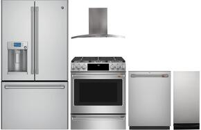 "5-Piece Stainless Steel Kitchen Package with CFE28USHSS 36"" French Door Refrigerator, C2S995SELSS 30"" Slide In Dual Fuel Range, PV970NSS 30"" Wall Mount Hood, CDT835SSJSS 24"" Dishwasher, and UCG1680LSS 15"" Trash Compactor"