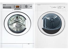 "White Front Load Compact Laundry Pair with WM77120 24"" Washer and DV17542 24"" Electric Dryer"