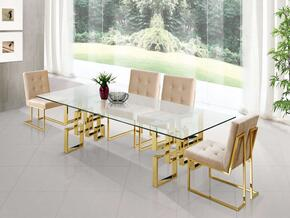 Pierre Collection MER5PCRECDH4BEKIT2 5-Piece Dining Room Sets with Rectangular Dining Table, and 4x Beige Dining Chairs in Gold