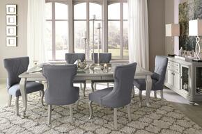 Bess Collection 8-Piece Dining Room Set with Rectangular Dining Table, 6 Side Chairs and Server in Silver