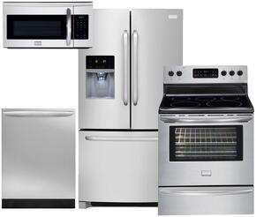 """4-Piece Stainless Steel Kitchen Package with FFHB2740PS 36"""" Freestanding French Door Refrigerator, DGEF3041KF 30"""" Freestanding Electric Range, FGID2466QF Fully Integrated Dishwasher and FGMV175QF Over the Range Microwave"""