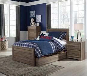 Javarin Twin Bedroom Set with Storage Bed, and Nightstand in Greyish Brown