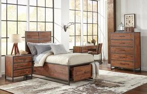 Studio 16 Collection 1663757677KT5SET 5 PC Bedroom Set with Full Size Storage Bed + Chest + Nightstand + Desk + Chair in Wire Brushed Finish