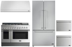 "4 Piece Kitchen Package With RDV2486GLL 48"" Dual Fuel Freestanding Range, VS48 48"" Wall Mount Hood, RF201ACJSX1 36"" French Door Refrigerator and two DD24SV2T7 24"" Dishwasher Drawers in Stainless Steel"