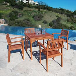 V1104SET1 Outdoor Wood Stacking Table and 4 V1080 Stacking Dining Chairs