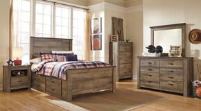 Trinell Full Bedroom Set with Panel Bed with Drawers, Dresser, Mirror, 2 Nightstands and Chest in Brown