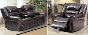 Chelesa 684-S-C 2 Piece Living Room Set with Sofa and Chair in Brown