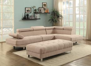 Milan Collection G442SCO 2 PC Living Room Set with Sectional Sofa + Ottoman in Green Color