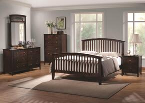 202081QSET4 Tia 4 Pc Bedroom Set in Warm Cappuccino Finish (Bed, Nightstand, Dresser, and Mirror)