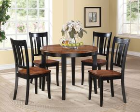 Galan Collection 71215SET 5 PC Dining Room Set with Dining Table + 4 Side Chairs in Black and Oak Finish