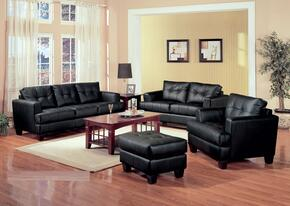 Samuel 501681SLCO 4 PCS Living Room Set with Sofa + Loveseat + Chair + Ottoman in Black Color
