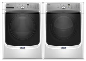 "White Front Load Laundry Pair with MHW5500FW 27"" Washer and MGD5500FW 27"" Gas Dryer"