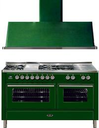 "2-Piece Emerald Green Kitchen Package with UMT150FSDMPVS 60"" Freestanding Dual Fuel Range (5 Burners, French Cooktop, Griddle) and UAM150VS 60"" Wall Mount Range Hood"