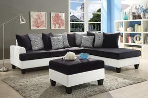 Domino Collection G220SCO 2 PC Living Room Set with Reversible Chaise Sectional + Storage Ottoman in White and Black Color