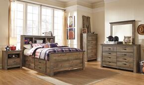 Trinell Full Bedroom Set with Bookcase Bed with Trundle, Dresser, Mirror and Nightstand in Brown