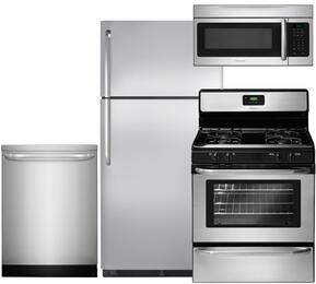 "4-Piece Stainless Steel Kitchen Package with FFTR1821QS 30"" Top Freezer Refrigerator, FFGF3047LS 30"" Freestanding Gas Range, FFID2423RS 24"" Fully Integrated Dishwasher and FFMV164LS 30"" Over the Range Microwave"