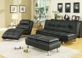 Dilleston 300281SET 3 PC Living RoomSet with Sofa + Chaise + Storage Ottoman in Black Color