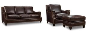 SS351 3-Piece Living Room Set with Huntington Collis Stationary Sofa, Chair and Ottoman in Brown