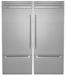"Discovery Stainless Steel Refrigerator Set with DYF36BFTSR 36"" Right Hinge Bottom Freezer Refrigerator, DYF36BFTSL 36"" Left Hinge Bottom Freezer Refrigerator and AFTKSXS36TS Side-by-Side Installation Kit"