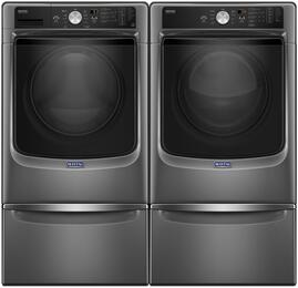 "Metallic Slate Front Load Laundry Pair with MHW5500FC 27"" Washer, MGD5500FC 27"" Gas Dryer and 2 XHPC155YC Pedestals"