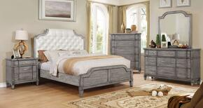Ganymede Collection CM7856EKBEDSET 5 PC Bedroom Set with Eastern King Size Panel Bed + Dresser + Mirror + Chest + Nightstand in Grey Finish