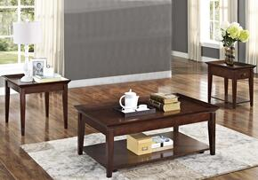 30709CEE Terrace 3 Piece Occasional and Entertainment Table Set with Cocktail Table, End Table and Chairside End Table, in Chestnut