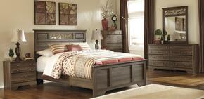 Allymore Queen Bedroom Set with Panel Bed, Dresser, Mirror and Nightstand in Aged Brown
