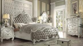 Versailles Collection 21144CKSET 6 PC Bedroom Set with California King Size Bed + Dresser + Mirror + Chest + 2 Nightstands in Bone White Finish