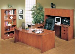 KIT1N189M Bow Front Desk Shell Complete with Bridge, Credenza, Hucth, Pedestal File, and Bookcase in Mahogany Finish